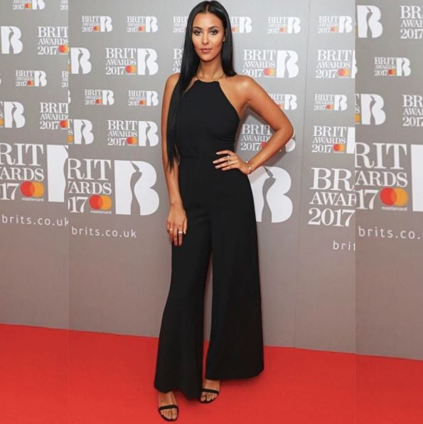 Red Carpet Glam: Maya Jama at the Brit Awards 2017 Nominations Launch Party wearing a Keepsake jumpsuit, Lolaandgrace ring and cuff, Gemporia rings and Charles & Keith shoes.