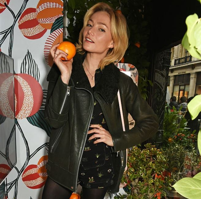 Clara Paget wears Gestuz jacket